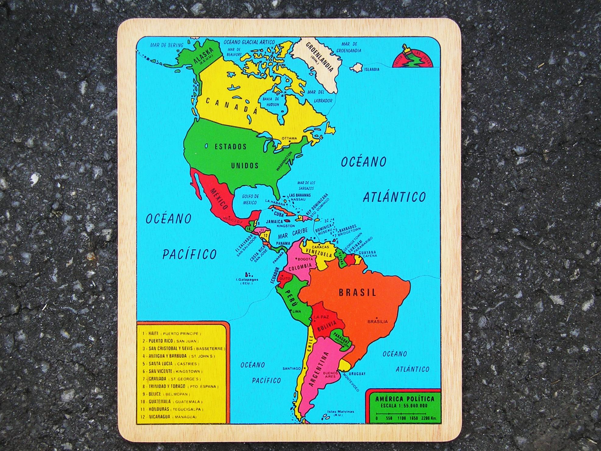 AMÉRICA Puzzle Taller Los Juegos - America mapa juego